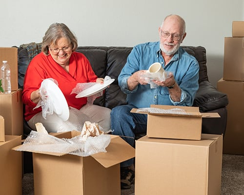 couple packing up house